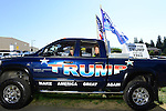 A truck belonging to John Beavers of Belair, Washington, at a campaign stop and rally by Republican Presidential Candidate Donald Trump in Lynden, Washington at the Northwest Washington Fairgrounds Saturday May 7, 2016. Photo by Daniel Berman/www.bermanphotos.com