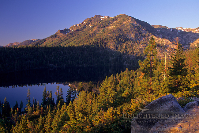 View of Mount Tallac rising above Cascade Lake, near Lake Tahoe, California