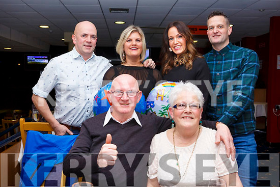 John Joe O'Connor of Castlegregory celebrates a double celebration, his birthday and his retirement with his family at the Kingdom Greyhound Track on Friday last, seated L-r, Birthday boy John Joe and Joan O'Connor. Back l-r, John and Edel O'Connor, Siobhan and Mark Cushen