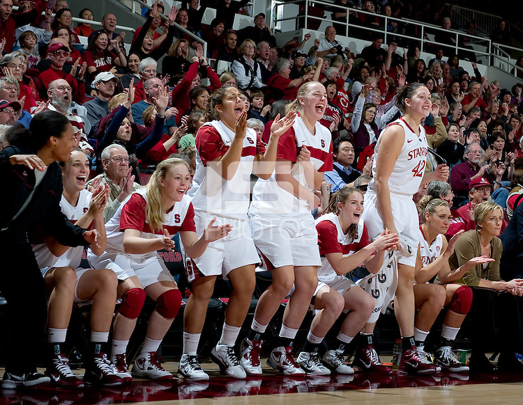 STANFORD CA-NOVEMBER 28, 2010: The Stanford bench cheers during the Stanford 93-78 win over Texas in Stanford, California.