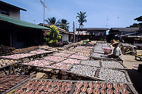 Women drying fish for the market