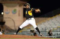 Bradenton Marauders pitcher Clario Perez (30) delivers a pitch during a game against the Charlotte Stone Crabs on April 22, 2015 at McKechnie Field in Bradenton, Florida.  Bradenton defeated Charlotte 7-6.  (Mike Janes/Four Seam Images)