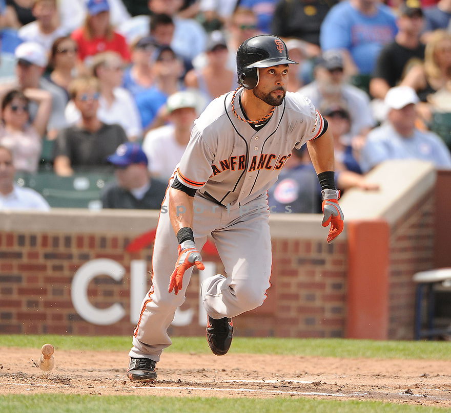 ANGEL PAGAN (16) of the San Francisco Giants, in action during the Giants game against the Chicago Cubs on August 31, 2012 at Wrigley Field in Chicago, IL. The Cubs beat the Giants 6-4.