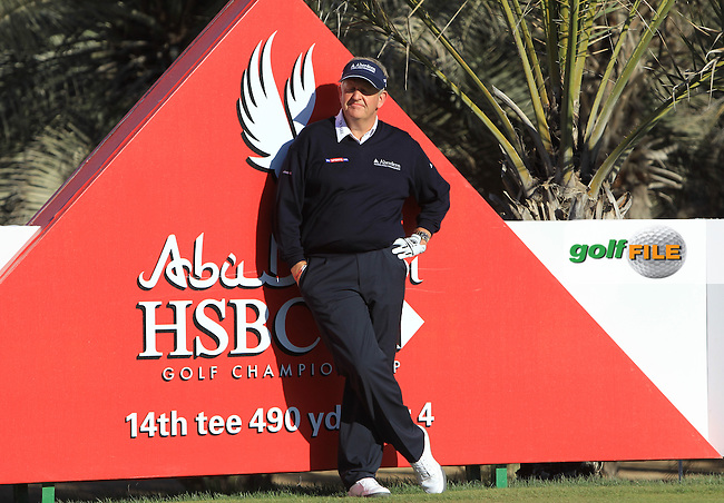 Colin Montgomerie (SCO) waits to tee off the 14th tee during Friday's Round 2 of the Abu Dhabi HSBC Golf Championship at Abu Dhabi Golf Club, 18th January 2013 (Photo Eoin Clarke/www.golffile.ie)