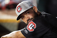 Chattanooga Lookouts Alex Robles (18) in the dugout during a game against the Mobile BayBears on May 5, 2018 at Hank Aaron Stadium in Mobile, Alabama.  Chattanooga defeated Mobile 11-5.  (Mike Janes/Four Seam Images)