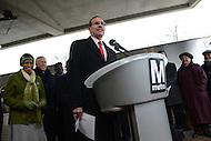 Greenbelt, MD - January 6, 2014:  D.C. Mayor Vincent C. Gray speaks during a press conference at the Greenbelt metro station. The mayor and officials from Maryland and Virginia announced the arrival of Metro's new 7000-series rail cars.   (Photo by Don Baxter/Media Images International)