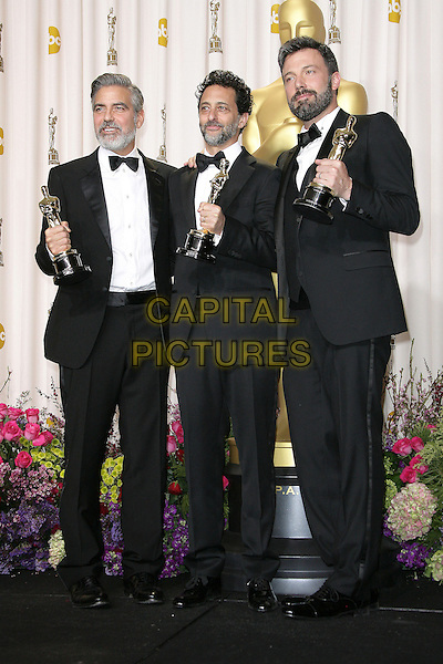 George Clooney, Grant Heslov, Ben Affleck.85th Annual Academy Awards held at the Dolby Theatre at Hollywood & Highland Center, Hollywood, California, USA..February 24th, 2013.pressroom oscars full length black tuxedo bow tie beard facial hair white shirt award trophy trophies winner winners .CAP/ADM.©AdMedia/Capital Pictures.