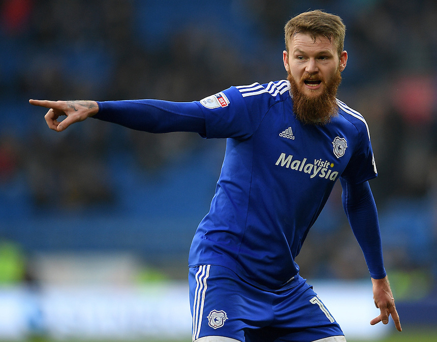 Cardiff City's Aron Gunnarsson in action<br /> <br /> Photographer Ashley Crowden/CameraSport<br /> <br /> The EFL Sky Bet Championship - Cardiff City v Rotherham United - Saturday 18th February 2017 - Cardiff City Stadium - Cardiff<br /> <br /> World Copyright &copy; 2017 CameraSport. All rights reserved. 43 Linden Ave. Countesthorpe. Leicester. England. LE8 5PG - Tel: +44 (0) 116 277 4147 - admin@camerasport.com - www.camerasport.com