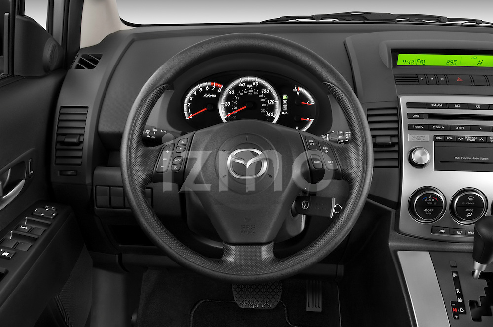 Steering wheel view of a 2008 Mazda 5