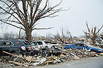 Wrecks of cars in town destroyed by tornado