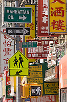 AVAILABLE FROM PLAINPICTURE FOR COMMERCIAL AND EDITORIAL LICENSING.  Please go to www.plainpicture.com and search for image # p5690212.<br /> <br /> Street Signs and Chinese Language Business Signs in Chinatown, New York City, New York State, USA