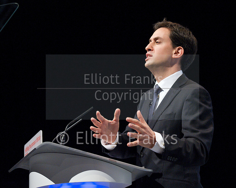 Labour Annual Conference<br /> at the Echo Arena &amp; BT Convention Centre, Liverpool, Great Britain <br /> 25th to 28th September 2011 <br /> <br /> Rt Hon Ed Miliband MP <br /> Leader of the Labour Party <br /> Member of Parliament<br /> for Doncaster North<br /> <br /> Photograph by Elliott Franks