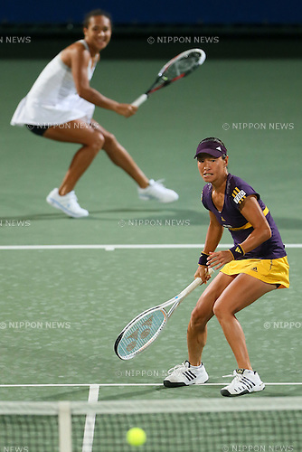 (L to R) Heather Watson (GBR), Kimiko Date-Krumm (JPN), .OCTOBER 9, 2012 - Tennis : .HP Japan Women's Open Tennis 2012, .Women's Doubles first round match .at Utsubo Tennis Center, Osaka, Japan. .(Photo by Akihiro Sugimoto/AFLO SPORT) [1080]