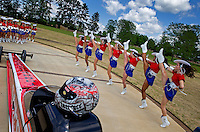 Apr 22, 2014; Kilgore, TX, USA; The Kilgore College Rangerettes perform behind the car of NHRA top fuel dragster driver Steve Torrence at the Torrence estate. Mandatory Credit: Mark J. Rebilas-USA TODAY Sports