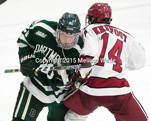 Carl Hesler (Dartmouth - 20), Alexander Kerfoot (Harvard - 14) - The Harvard University Crimson defeated the Dartmouth College Big Green 5-2 to sweep their weekend series on Sunday, November 1, 2015, at Bright-Landry Hockey Center in Boston, Massachusetts. -