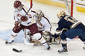 Scott Savage (BC - 28), Thatcher Demko (BC - 30), Thomas DiPauli (ND - 14) - The visiting University of Notre Dame Fighting Irish defeated the Boston College Eagles 7-2 on Friday, March 14, 2014, in the first game of their Hockey East quarterfinals matchup at Kelley Rink in Conte Forum in Chestnut Hill, Massachusetts.