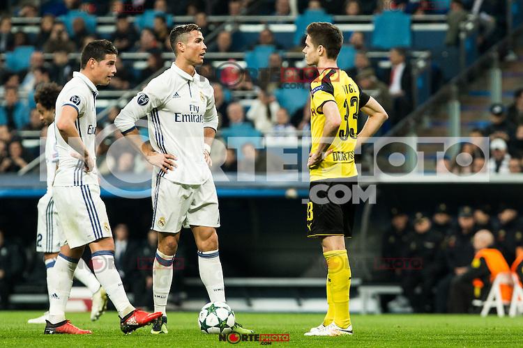 Real Madrid's Cristiano Ronaldo, Borussia Dortmund Julian during Champions League match between Real Madrid and Borussia Dortmund  at Santiago Bernabeu Stadium in Madrid , Spain. December 07, 2016. (ALTERPHOTOS/Rodrigo Jimenez) /NortePhoto.com