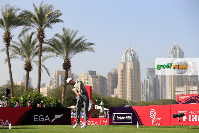 Ross Fisher (ENG) on the 1st tee during Round 4 of the Omega Dubai Desert Classic, Emirates Golf Club, Dubai,  United Arab Emirates. 27/01/2019<br /> Picture: Golffile | Thos Caffrey<br /> <br /> <br /> All photo usage must carry mandatory copyright credit (© Golffile | Thos Caffrey)