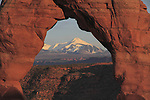 Delicate Arch frames the La Sal mountains, Arches National Park, Utah.<br />