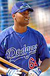 6 March 2006: Joel Guzman, infielder for the Los Angeles Dodgers, prior to a Spring Training game against the Washington Nationals. The Nationals and Dodgers played to a scoreless tie at Holeman Stadium, in Vero Beach Florida...Mandatory Photo Credit: Ed Wolfstein..