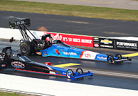 Sep 4, 2017; Clermont, IN, USA; NHRA top fuel driver Pat Dakin (near) races alongside XXXX during the US Nationals at Lucas Oil Raceway. Mandatory Credit: Mark J. Rebilas-USA TODAY Sports