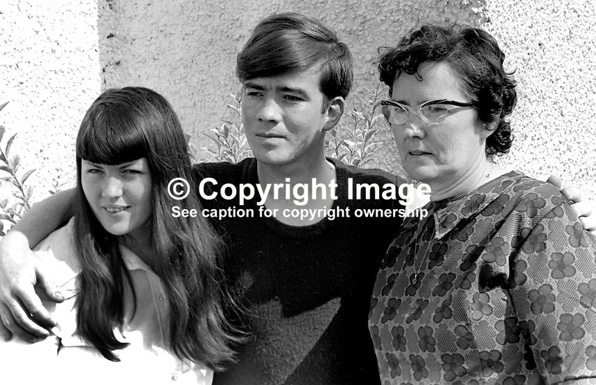 Royal Irish Rangers Lance Corporal Eugene Patton reunited with his mother, Mary Patton, and his sister, Vina McLintock, after he escaped from kidnappers in Co Donegal, Rep of Ireland, 25th June 1974. The Royal Irish Rangers are part of the British  Army. 197406250364<br />