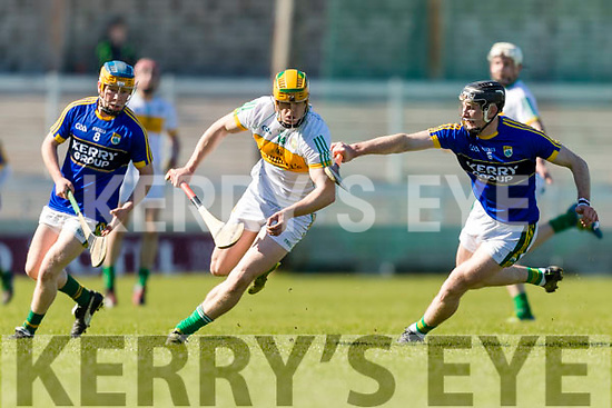 Bryan Murphy Kerry in action against Cillian Kiely Offaly in the National Hurling League in Austin Stack Park, Tralee on Sunday.