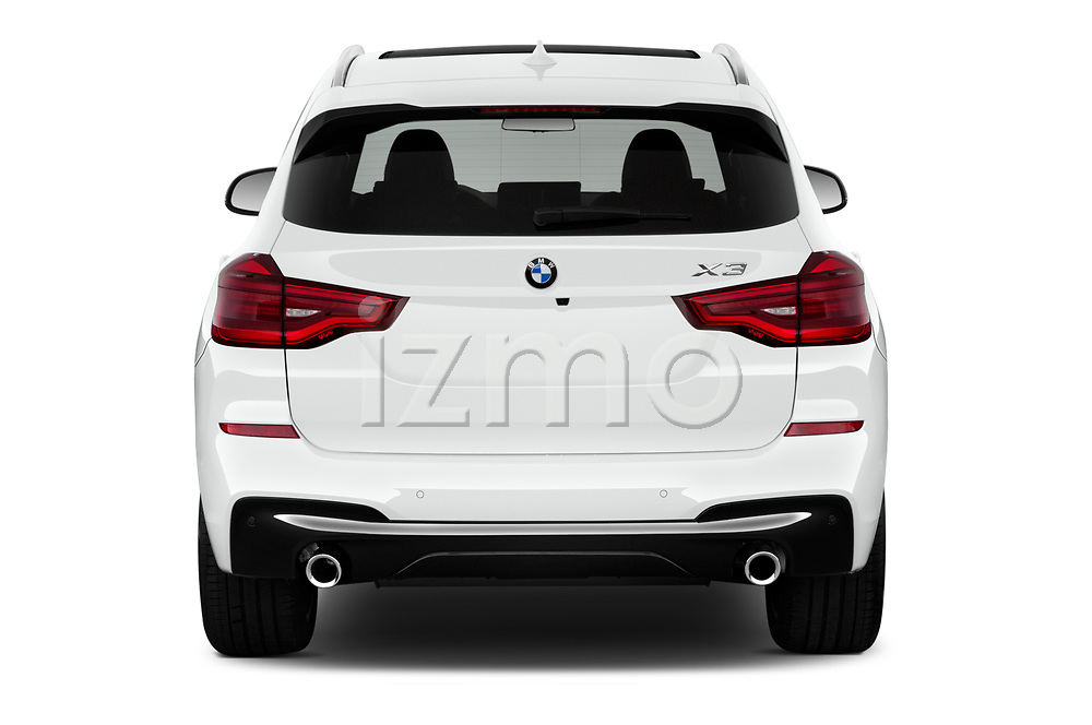 Straight rear view of a 2019 BMW X3 M Sport 5 Door SUV stock images