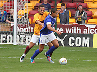 Tom Hateley tackles in the Motherwell v Everton friendly match at Fir Park, Motherwell on 21.7.12 for Steven Hammell's Testimonial.