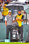 28 August 2009: Tiger Woods and his caddie Steve Williams wait for their tee time during the second round of The Barclays PGA Playoffs at Liberty National Golf Course in Jersey City, New Jersey.