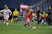 San Diego, CA - Sunday January 21, 2018: Savannah McCaskill prior to an international friendly between the women's national teams of the United States (USA) and Denmark (DEN) at SDCCU Stadium.