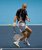 Nicolay Davydenko (RUS) against  Novak Djokovic (SRB) in the Group B singles. Djokovic beat Davydenko 36 64 75..International Tennis - Barclays ATP World Tour Finals - O2 Arena - London - Day 2 - Mon 23 Nov 2009..© Frey - AMN IMAGES, Level 1 Barry House, 20-22 Worple Road, London, SW19 4DH - +44 20 8947 0100