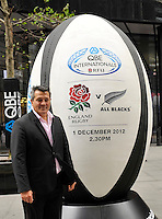 London, England. Zinzan Brooke of New Zealand Rugby legends pose for a photograph following a press conference to announce the England rugby squad for the QBE Internationals on October 25, 2012 in London, England.