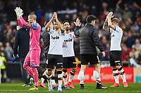 25th January 2020; Mestalla, Valencia, Spain; La Liga Football,Valencia versus Barcelona; valencia players greet their crowd after winning the game by a score of 2-0