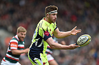 Sam James of Sale Sharks passes the ball. Aviva Premiership match, between Leicester Tigers and Sale Sharks on April 29, 2017 at Welford Road in Leicester, England. Photo by: Patrick Khachfe / JMP