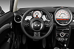 Steering wheel view of a 2011 Mini Cooper Clubman S