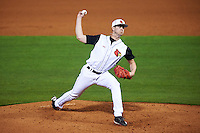 Louisville Cardinals relief pitcher Jake Sparger (44) delivers a pitch during a game against the Maryland Terrapins on February 18, 2017 at Spectrum Field in Clearwater, Florida.  Louisville defeated Maryland 10-7.  (Mike Janes/Four Seam Images)