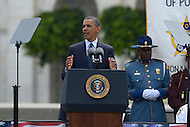 May 15, 2013  (Washington, DC)  President Barack Obama addresses attendees of the 32nd Annual Peace Officers memorial Service on the west lawn of the U.S. Capitol.  (Photo by Don Baxter/Media Images International)