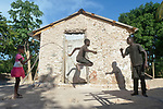 Twelve-year old Dwendy Dalmas jumps rope in front of his family's new home in Picmy, a village on the Haitian island of La Gonave where Service Chr&eacute;tien d&rsquo;Ha&iuml;ti is working with survivors of Hurricane Matthew, which struck the region in 2016. Holding the rope are his sister Iznaida and his brother Vestander.<br /> <br /> SCH, a member of the ACT Alliance, is helping families like this one repair or rebuild their homes on the island.<br /> <br /> Parental consent obtained.