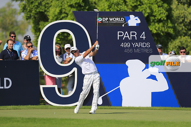Jaco Van Zyl (RSA) on the 9st tee during Round 2 of the DP World Tour Championship at the Earth course,  Jumeirah Golf Estates in Dubai, UAE,  20/11/2015.<br /> Picture: Golffile | Thos Caffrey<br /> <br /> All photo usage must carry mandatory copyright credit (&copy; Golffile | Thos Caffrey)