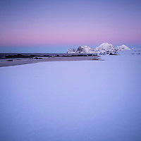 Winter twilight at Storsandnes beach, Flakstadøy, Lofoten Islands, Norway