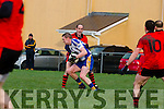 Bernard Murphy Glenbeigh/Glencar and Thomas Ladden Keel in action during the Mid Kerry semi final in Glenbeigh on Sunday