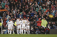 26th November 2019; Estadio Santiago Bernabeu, Madrid, Spain; UEFA Champions League Football, Real Madrid versus Paris Saint Germain; Karim Benzema (Real Madrid)  celebrates his goal which made it 1-0 in the 17th minute  - Editorial Use