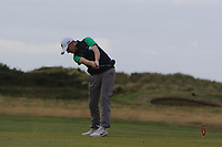 Ronan Mullarney from Ireland at the 18th tee during Round 2 Singles of the Men's Home Internationals 2018 at Conwy Golf Club, Conwy, Wales on Thursday 13th September 2018.<br /> Picture: Thos Caffrey / Golffile<br /> <br /> All photo usage must carry mandatory copyright credit (&copy; Golffile | Thos Caffrey)