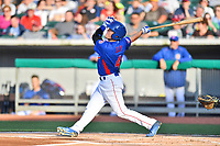 Tennessee Smokies short stop Andrew Ely (4) swings at a pitch during a game against the Biloxi Shuckers at Smokies Stadium on May 26, 2017 in Kodak, Tennessee. The Smokies defeated the Shuckers 3-2. (Tony Farlow/Four Seam Images)