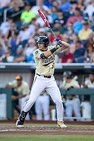 Vanderbilt Commodores outfielder JJ Bleday (51) at bat during Game 12 of the NCAA College World Series against the Louisville Cardinals on June 21, 2019 at TD Ameritrade Park in Omaha, Nebraska. Vanderbilt defeated Louisville 3-2. (Andrew Woolley/Four Seam Images)