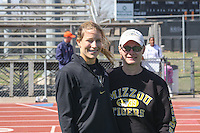 University of Misouri freshman and Jefferson City High School graduate Leslie Farmer (left) poses with former Jefferson City High School track and field assistant coach Roberta Licklider at the 2009 Jefferson Cup, a dual track meet between the University of Missouri and the University of Virginia, Saturday, April 4, 2009, in Columbia, Missouri.