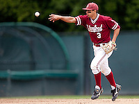 STANFORD, CA - April 23, 2011: Kenny Diekroeger of Stanford baseball throws the ball to the mound after catching the third out on a line drive during Stanford's game against UCLA at Sunken Diamond. Stanford won 5-4.