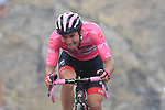 Race leader Jan Polanc (SLO) UAE Team Emirates fights his way to the finish of Stage 13 and retains the Maglia Rosa of the 2019 Giro d'Italia, running 196km from Pinerolo to Ceresole Reale (Lago Serrù), Italy. 24th May 2019<br /> Picture: Gian Mattia D'Alberto/LaPresse | Cyclefile<br /> <br /> All photos usage must carry mandatory copyright credit (© Cyclefile | Gian Mattia D'Alberto/LaPresse)