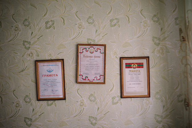 Honorary certificates in room of Alexander.